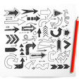 doodle sketch arrows and red pencil on white vector image vector image