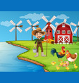 farm scene with farmer and chickens vector image vector image