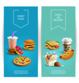 fast food cartoon banners vector image vector image