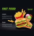 fast food poster burger ingredients beef tomato vector image vector image