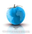 February 2017 tomato calendar vector image vector image