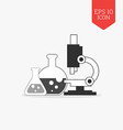 Flasks and microscope icon Research lab concept vector image