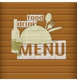 food and drink menu of paper on a wooden table vector image vector image