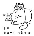 funny cat with remote control for tv vector image vector image
