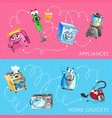 funny household appliances banner set vector image vector image