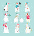 funny snowmen characters set in different vector image vector image