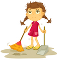 Girl cleaning floor vector image