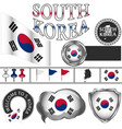 glossy icons with flag of south korea vector image vector image