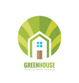 green house building - logo concept vector image