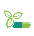 Green leaves and pill vector image