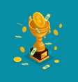 isometric objects cup award money prize vector image