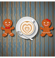 loving couple of gingerbread and coffee cup vector image vector image