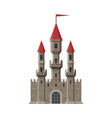 medieval fairytale castle with towers and flag vector image vector image