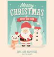 merry christmas card with santa claus snowman vector image
