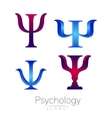 Modern logotype Sign Set of Psychology Psi vector image vector image