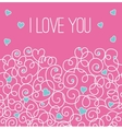 Pink greeting card with floral heart shape I love vector image vector image