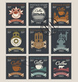 postage stamps on theme coffee and coffee vector image vector image