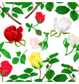 seamless texture rosebuds red yellow white vector image vector image