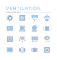 set color line icons ventilation vector image