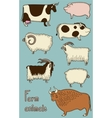 Set of 8 cute farm animals vector image vector image
