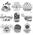 set of basketball and tennis badge emblem or sign vector image