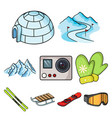 ski resort set icons in cartoon style big vector image vector image