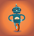 smart robot with glasses on wheel vector image vector image
