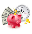 time is money pig moneybox and money with office vector image