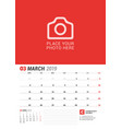 wall calendar planner for 2019 year march print vector image