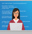 young pretty woman programmer sitting vector image