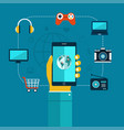 oncept of mobiles app phone in hand shopping vector image