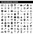 100 museum icons set simple style vector image vector image
