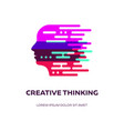 abstract thinking concept with female head vector image