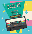 back to 90-s banner or poster with music cassette