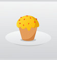 butter cup cake on dish and gradient background vector image vector image