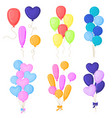 cartoon color birthday balloons icon set vector image vector image