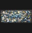 cartoon cute doodles space word vector image vector image