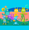 cartoon fantasy monster or alien characters group vector image vector image