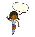 cartoon pretty woman with idea with speech bubble vector image vector image