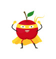 cartoon superhero character red apple flat design vector image vector image