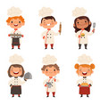 Characters set of children cooks cartoon mascots vector image