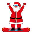 cheerful cartoon santa claus snowboarder vector image