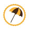 circular frame with beach umbrella vector image vector image