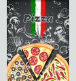 color pizza poster savoury pizza ads with 3d vector image