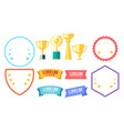 cup winner icon set isolated on white background vector image vector image