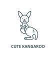 cute kangaroo line icon cute kangaroo vector image vector image