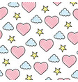 doodle heart and cloud with bright star background vector image vector image