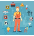 Electrician man concept with professional vector image