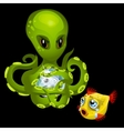 Evil green octopus with magic sphere and goldfish vector image vector image