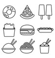 fast food icons burger and fries pizza hot dog vector image vector image